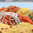 Royalty-Free Stock Photo: Pile yellow and orange  fishing net