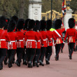 Queens guards marching and playing music - Stock Photo