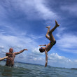 Jumping at the beach — Stock Photo #6296886
