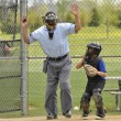 Little league baseball catcher and ump — Stock Photo #5539464