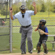Little league baseball catcher and ump - Stock Photo