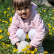 Stock Photo: Girl with rabbit