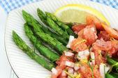 Asparagus with Tomato Vinaigrette — Stock Photo