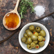 Olives, Oil and Salt — Stock Photo