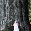 enfant debout sous un grand arbre — Photo