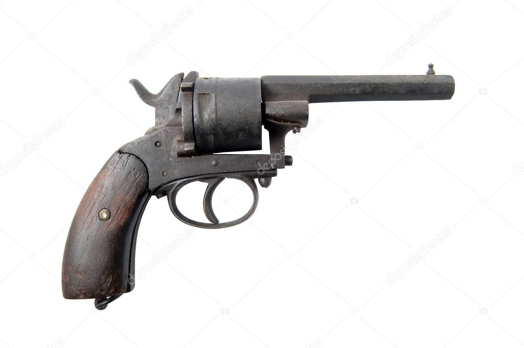 Old cowboy gun with wooden handle isolated on the white background. — Stock Photo #6102607