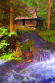 Landscape painting - cottage in the forest beside stream — Stock Photo