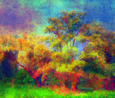 Landscape painting showing colorful old forest — Stock Photo