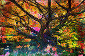 Landscape painting showing tree in the park — Stock Photo