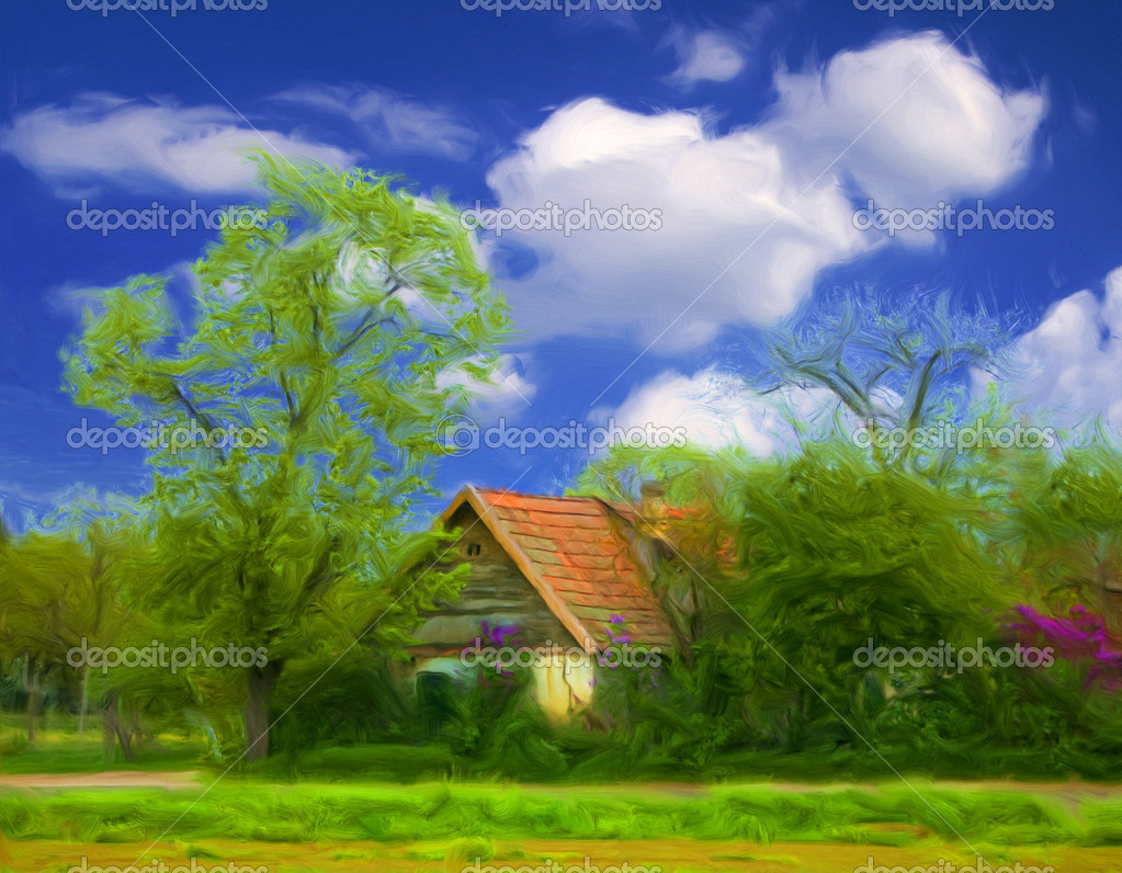 Landscape painting showing small country house surrounded by trees and vegetation and blue sky with white clouds. — Stock Photo #6161953