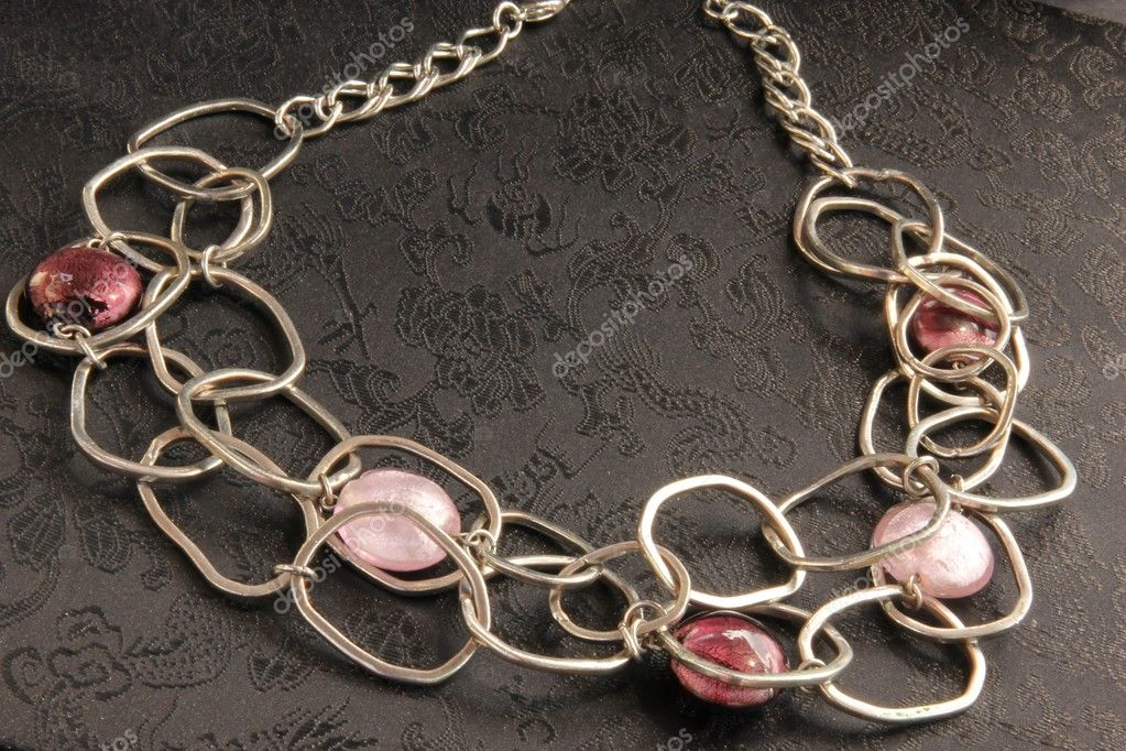 Closeup on beautiful luxury necklace on black background  Stock Photo #6052707