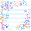 Colorful Sketchy Back to School Notebook Doodles - Stok Vektör