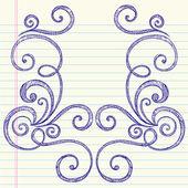 Cuaderno dibujado a mano incompleto doodles remolino — Vector de stock