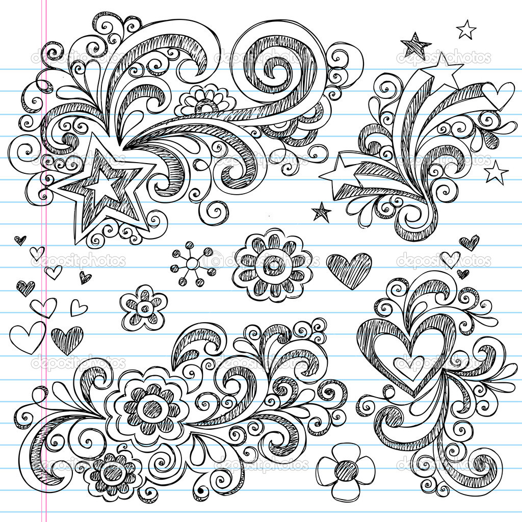 Hand-Drawn Back to School Sketchy Doodles Design Elements with Flowers, Hearts, and Stars on Lined Notebook Paper Background- Vector Illustration.  Stock Vector #5469911