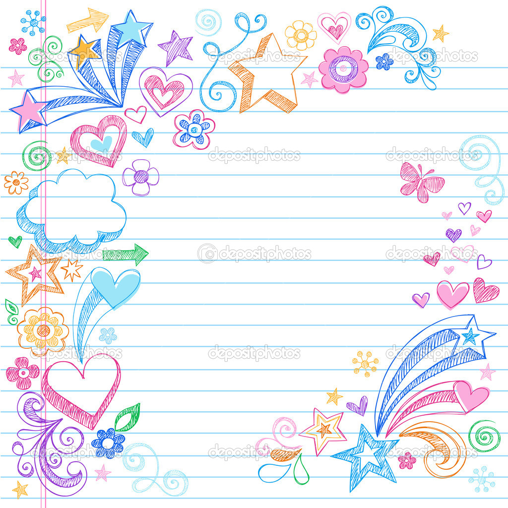 Hand-Drawn Back to School Sketchy Doodles- Design Elements with Clouds, Flowers, Hearts, & Stars on Lined Notebook Paper Background- Vector Illustration. — Stock vektor #5469927