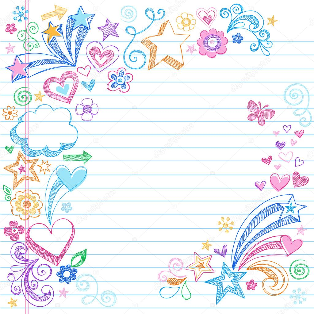 Hand-Drawn Back to School Sketchy Doodles- Design Elements with Clouds, Flowers, Hearts, & Stars on Lined Notebook Paper Background- Vector Illustration. — Stock Vector #5469927