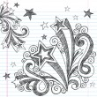 Sketchy Back to School Starburst Notebook Doodles — Imagen vectorial