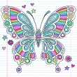 Rainbow Butterfly Notebook Doodles Vector Illustration - Stock Vector