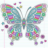Rainbow Butterfly Notebook Doodles Vector Illustration — Stock Vector