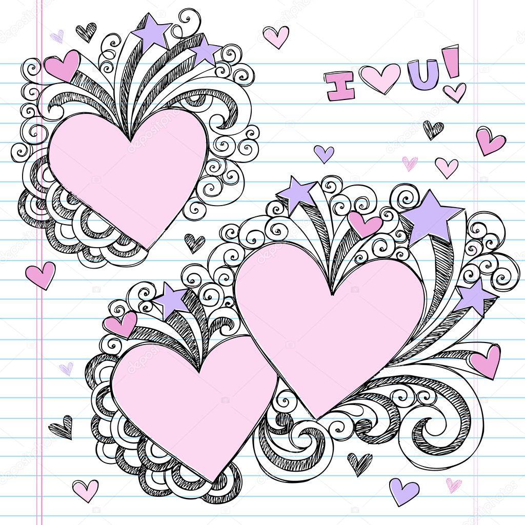 Doodle Designs Heart Doodles Design Elements on