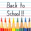 Back to School Written on a Lined Dry Erase Board with Colored Pencils — 图库照片