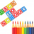 Back to School Written in Alphabet Blocks with Colored Pencils — Foto de stock #6179990