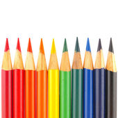 Rainbow of Colored Pencils Isolated on White — Stock Photo