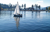 Sailboat Sailing on a Blue Mountain Lake — Foto Stock
