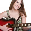 Girl Playing Guitar — Stock Photo