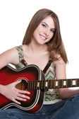 Girl Playing Guitar — Stockfoto