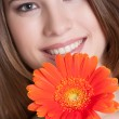 Smiling Flower Woman - Stock Photo