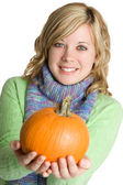 Woman Holding Pumpkin — Stock Photo