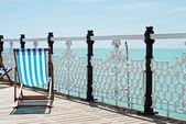 Beach chair on the pier — Stock Photo