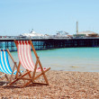 Stock Photo: Deck chairs on beach Brighton England