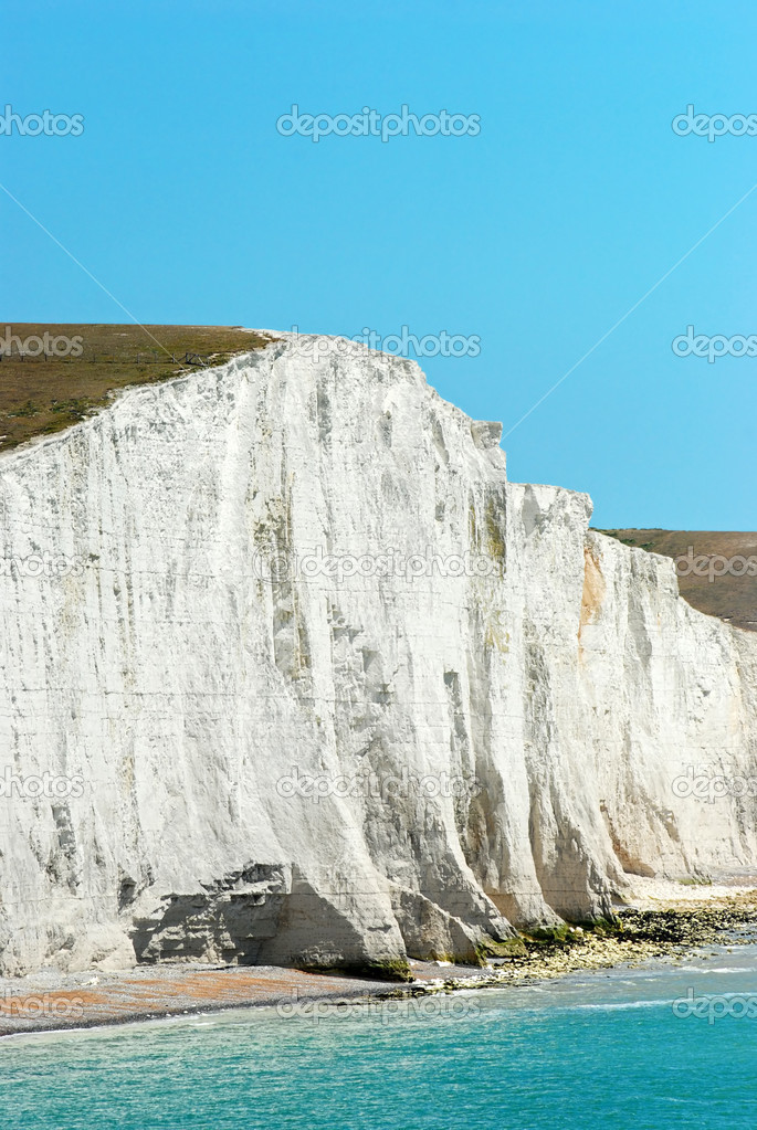 Closeup chalk cliff seven sisters England with blue sky  — Stock Photo #6249070