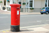 Red british mailbox — Stock Photo