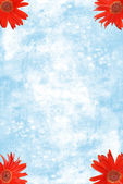 Czerwony gerbera daisies w rogach z niebieskim papierze akwarelowym — Zdjęcie stockowe
