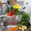 Fresh Vegetables in the Sink — Stock Photo
