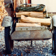 Wheelbarrow With Birch Firewood — Stockfoto