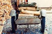Wheelbarrow With Birch Firewood — Stock Photo