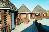 Woods house in touristic camping — Стоковое фото