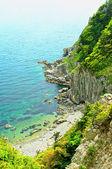 Crystalline sea beach in japan sea Island Petrov — Stock Photo