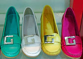 Different colors female shoe isolated — Stock Photo