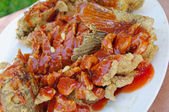 Chinese food. Fried carp in sour sweet sauce, — Stock Photo