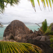 Granite boulders on Source d Argent beach, La Digue island, Seychelles — Stock Photo
