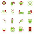 Stock Vector: Energy icons - green-red series