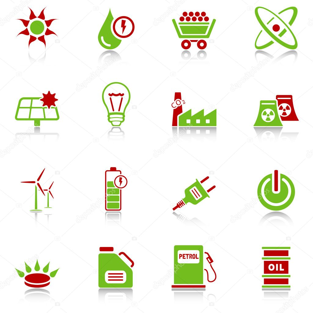 Set of 16 professional energy icons with reflection, green-red series — Stock Vector #5716403