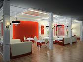 Restaurant interior 3D — Stock Photo