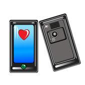 Smart phone con un cuore — Vettoriale Stock