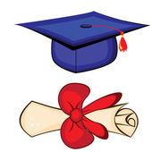 卒業証書と卒業キャップ。白い背景の上の図 — ストックベクタ